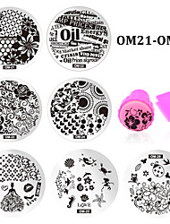 10pcs Nail Template Stamper Scraper Kit DIY Nail Stamp Stamping Manicure Tools (OM21-OM30)