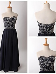 Formal Evening Dress - Dark Navy A-line Sweetheart Floor-length Chiffon