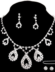 Wedding/Party Jewelry Sets Pendant Necklace Ring Bracelet Drop Earrings Stud Sets with 2 Pairs of Rhinestone Earrings