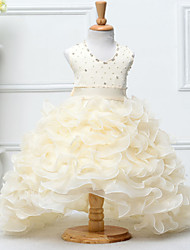 Ball Gown Chapel Train Flower Girl Dress - Satin / Tulle Sleeveless Jewel with