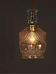 E27 220V 22*13CM 10-15㎡Romantic Bottle Creative Carved Art Glass Chandelier Light Led