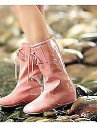 Women's Shoes Patent Leather Flat Heel Rain Boots Boots Casual Black / Pink / Beige