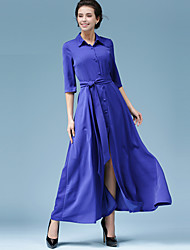 Women's Party/Cocktail A Line Dress,Solid Shirt Collar Maxi Long Sleeve Blue Rayon Fall