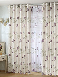 Two Panels Ramie Cotton Printed Europe Contracted Style Living Room Bedroom Curtains