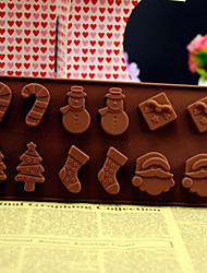 12 in 1 Christmas Tree Snowman Santa Gift Socks Candy Bar Silicone Chocolate Pudding Sugar Ice Cake Mold