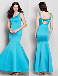 Lanting Ankle-length Satin Bridesmaid Dress - Pool Trumpet/Mermaid Scoop
