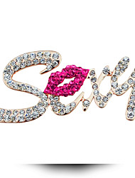 Korean Rhinestones Energy-Saving Sexy Lips Brooch