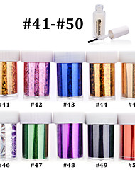 10pcs Nail Art Transfer Foils DIY Beauty Polish Sticker Paper with 1pcs Nail Foil Adhesive Glue (#41-#50)