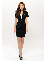 Women's Solid Black Blazer , Work Deep V Short Sleeve