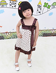 Girl's Dresses Sleeveless Artificiation Silk Dot Bow Suspender Dresses (Cotton)