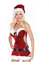 Polyester Performance Sexy Women's Christmas Costume(dress+hat+belt)