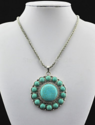 Vintage Look Antique Silver Natural Flower Lava Amethyst Stone Turquoise Necklace Pendant (1PC)