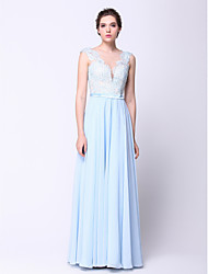 Formal Evening / Black Tie Gala Dress A-line / Princess Bateau Floor-length Chiffon with Appliques / Beading / Sash / Ribbon