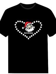 novo clube moda natal música de dança do partido dos homens acender intermitente painel el som activado levou t-shirt