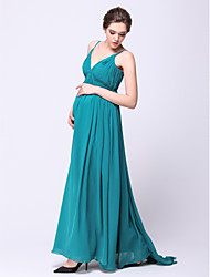 Formal Evening Dress A-line Spaghetti Straps Sweep / Brush Train Chiffon with Draping