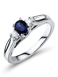 Women's Classic Sterling Silver set with Created Sapphire Ring