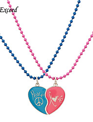 D exceed Girl Blue & Pink Heart Broken Enamel Pendant Necklace Peace Love Letter Necklaces for Teens Fashion Jewelry