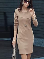 Mulheres Vestido Tamanhos Grandes Trabalho Sólido Mini Decote Redondo Poliéster