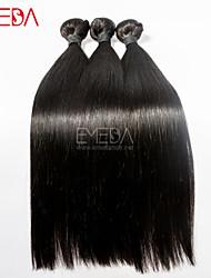 3pcs / lot temple vierge soie de cheveux indiens droites extensions de cheveux naturels humains noir 8 '' - 30 '' tisse les cheveux