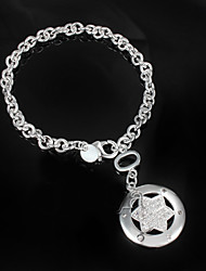 "Fashion Noble ""Star"" CZ Stone 925 Silver Party Chain & Link Bracelets For Woman&Lady"