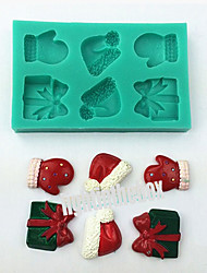 6 in 1 Christmas Cap Gloves Gift Silicone Chocolate Pudding Sugar Ice Cake Mold