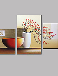 Three Panels Hand-Painted Floral Botanical Abstract Landscape Modern Oil Painting On Canvas With Frame