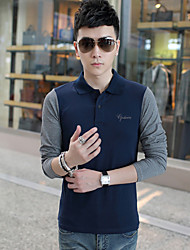 Men's Long Sleeve T-Shirt , Cotton / Elastic / Lycra Casual / Work Pure Slim