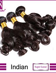 """3 peças / lote 8 """"-30"""" Indiano extensões de cabelo de super soltos 100% cabelo humano virgem não transformados tece"""