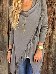 Women's Causal Cowl Tassels Long Sleeve Blouses