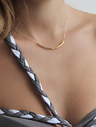 Women's Simple and Elegant Short Copper Tube Pendant Necklace Fashion Jewelry