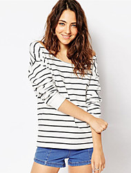 Women's Striped White T-shirt , Bateau Long Sleeve
