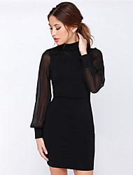 Women's Hot Sexy Backless Long Sleeve Splice Chiffon Slim Package Hip Party White / Black Dress
