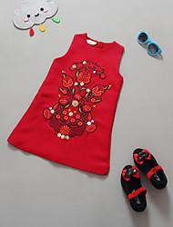 Girl's Classical Red Dress , Cartoon Cotton / Linen Summer / Spring / Fall/Sleeveless