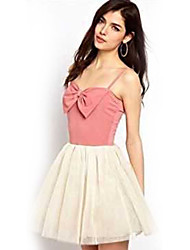 Women's Patchwork Blue / Pink Dress , Cute / Party Strapless Sleeveless