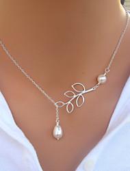 Mujer Strands Collares Collar con perlas Gota Perla Perla Artificial Legierung Moda joyería de disfraz Joyas Para Boda Fiesta Diario