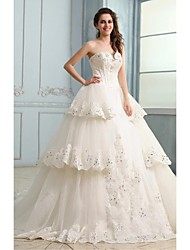 Ball Gown Wedding Dress - Ivory Chapel Train Strapless Tulle