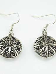 Vintage Look Antique Silver Plated Round Alloy Dangle Drop Earring(1Pair)