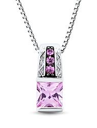 стерлингового серебра множество с кулоном создано розовый сапфир и аметист женского с серебряной коробке цепи