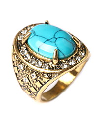 European And American Retro Fashion Turquoise Diamond Ring