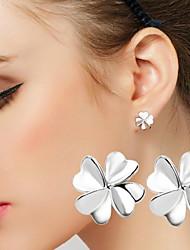 Silver Earrings Temperament Clover