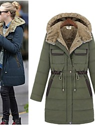 Women's Patchwork Blue / Green Coats & Jackets , Casual V-Neck Long Sleeve