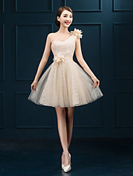 Short/Mini Tulle Bridesmaid Dress - Champagne Sheath/Column One Shoulder