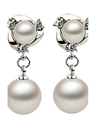 Silver Imports Double Pearl Ball Diamond Earrings