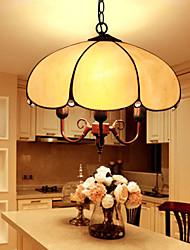 E27 220V 20*20CM 5-10㎡European Rural Creative Arts Stained Glass Chandelier Restoring Ancient Ways Lamp Led Light
