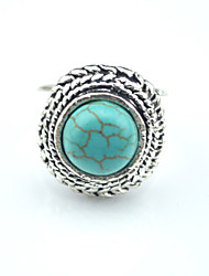 Vintage Antique Silver Volcano Lava Turquoise Tiger Stone Adjustable Free Size Ring(1PC)