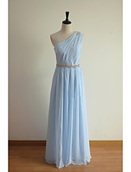 Floor-length Chiffon Bridesmaid Dress - A-line One Shoulder with Beading / Sash / Ribbon