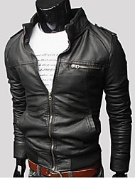Men's Stand Coats & Jackets , Cotton / Leather Long Sleeve Casual Fashion Winter / Fall God Like