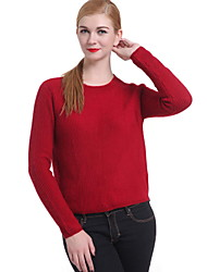 Damen Standard Pullover Retro Solide Mehrfarbig Rundhalsausschnitt Langarm Baumwolle Leinen Andere Winter Dick Mikro-elastisch