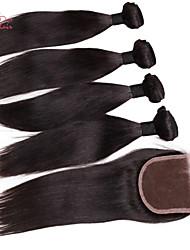 """smilco 8 """"-30"""" 4 пучки с закрытием 100% человеческий волос бразильский девственной волос с закрытием пучков волосков с кружевными закрытия"""