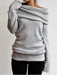 Women's Solid Brown / Gray Hoodies , Vintage Bateau Long Sleeve